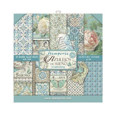 Papier scrapbooking assortiment Stamperia azulejos de sueno 10f 20x20 recto verso