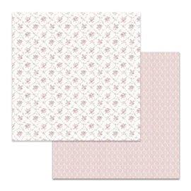 Papier scrapbooking réversible Stamperia texture petites fleurs 30x30