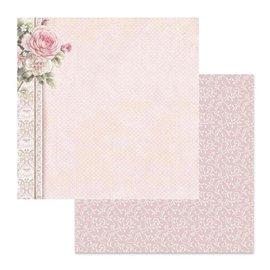 Papier scrapbooking réversible Stamperia pois bordure de roses 30x30