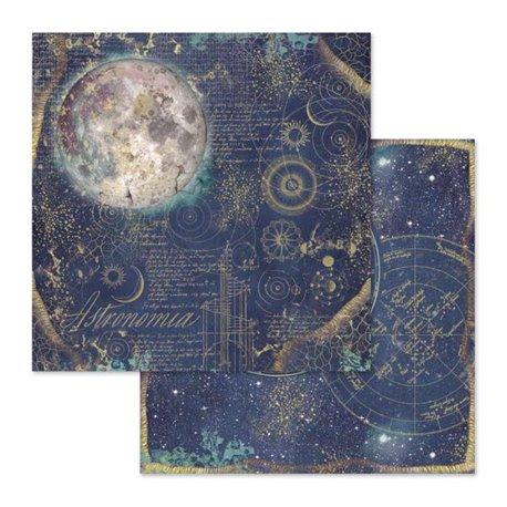 Papier scrapbooking réversible Stamperia cosmos astral 30x30