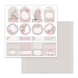 Papier scrapbooking réversible Stamperia étiquette et marque de mariage 30x30