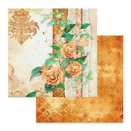 Papier scrapbooking réversible Stamperia fleurs fond ocre 30x30