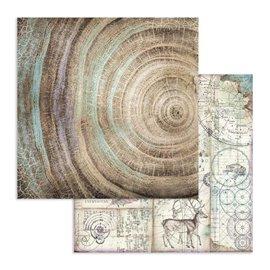 Papier scrapbooking réversible Stamperia noeuds cosmos 30x30