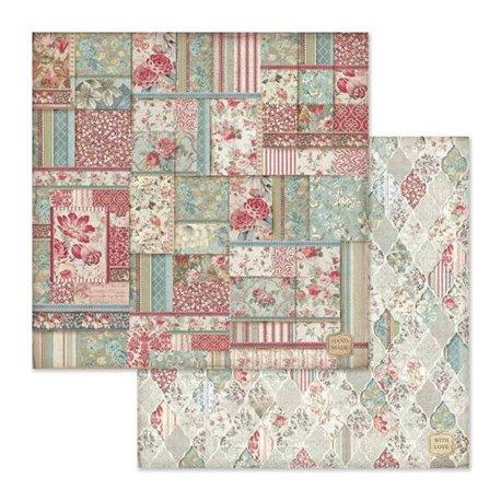 Papier scrapbooking réversible Stamperia patchwork 30x30
