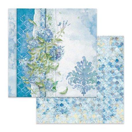 Papier scrapbooking réversible Stamperia fleurs fond bleu 30x30