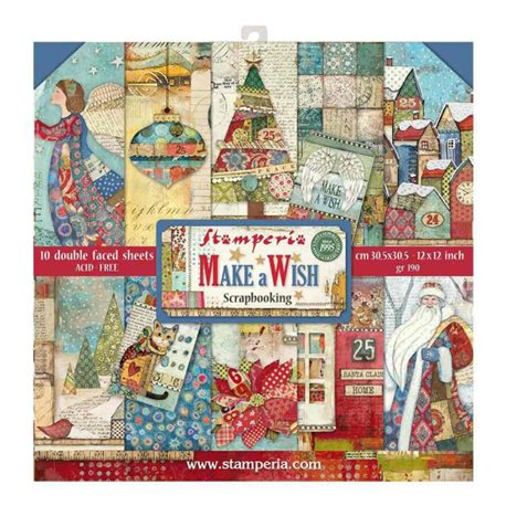 Papier scrapbooking assortiment Stamperia make a wish 10f recto verso 30x30