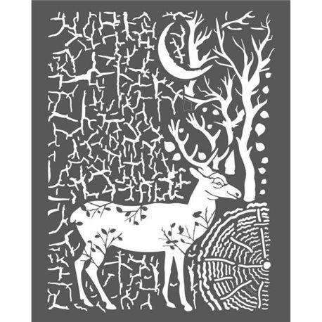 Pochoir décoratif cerf et écorces 20x25cm 1 motif