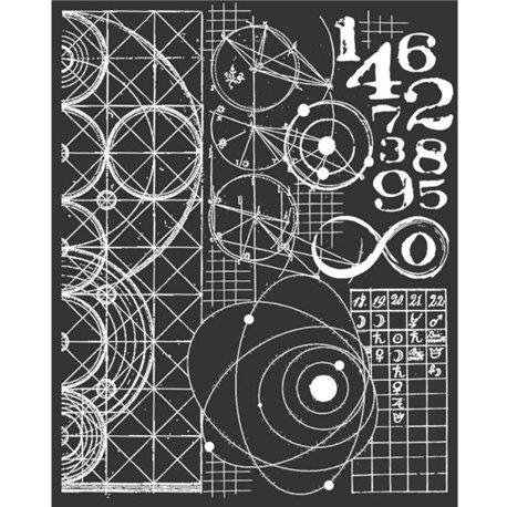 Pochoir décoratif astronomie et chiffres 20x25cm 1 motif