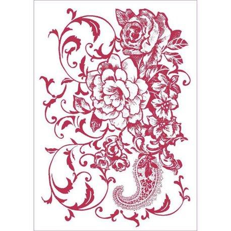 Pochoir décoratif fin ramage floral 21x29.7cm