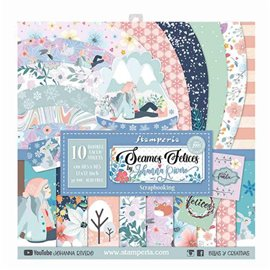 Papier scrapbooking assortiment Stamperia seamos felices 10f recto verso 30x30