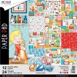 Papier scrapbooking assortiment Ciao Bella zoe et ziggy 12fe 30x30