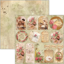 Papier scrapbooking réversible Ciao Bella tag the muse 30x30