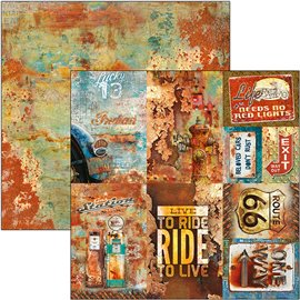 Papier scrapbooking réversible Ciao Bella rusted cards 30x30