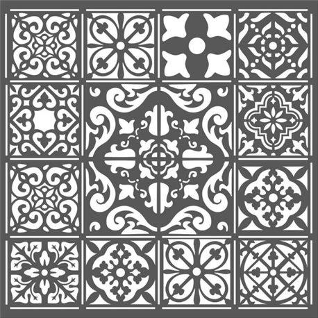 Pochoir décoratif mosaïque 18x18cm