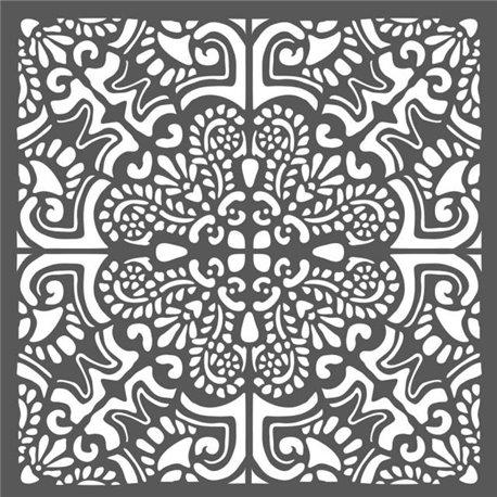 Pochoir décoratif tuile azulejos 18x18cm