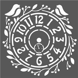 Pochoir décoratif horloge 18x18cm