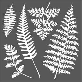 Pochoir décoratif feuilles fougère 18x18cm