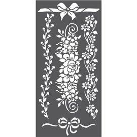 Pochoir décoratif frises de fleurs 12x25cm 3 motifs
