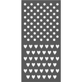 Pochoir décoratif pois et petits coeurs 2 motifs