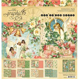 Papier scrapbooking assortiment Graphic 45 Joy to the world recto verso 30x30 16fe