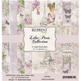 Papier scrapbooking assortiment Reprint Hobby Paris lilas recto verso 30x30 16fe