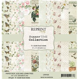 Papier scrapbooking assortiment Reprint Hobby Summer time recto verso 30x30 10fe