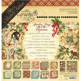 Papier scrapbooking assortiment Graphic 45 12 days of christmas recto verso 30x30 24fe