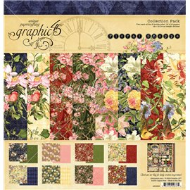 Papier scrapbooking assortiment Graphic 45 Floral Shoppe recto verso 30x30 16fe