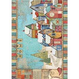 Papier de riz Stamperia 21x29,7cm paysage enneigé