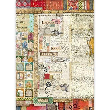 Papier de riz Stamperia 42x30cm écritures noël