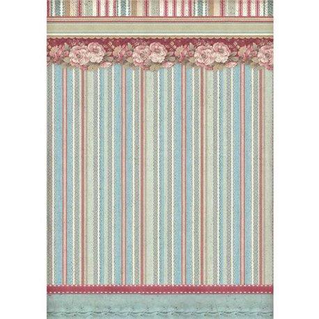 Papier de riz Stamperia 21x29,7cm papier peint rayures