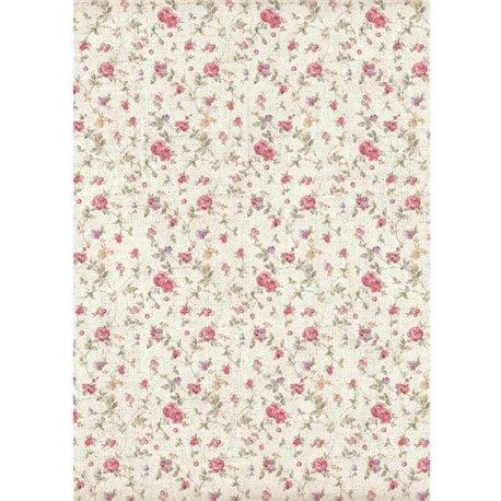 Papier de riz Stamperia 21x29,7cm fleurs petites roses