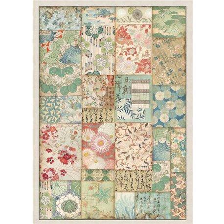 Papier de riz Stamperia 21x29,7cm patchwork japonais