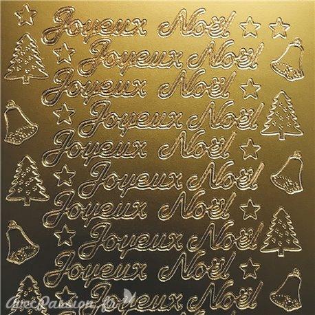 Sticker peel off adhésif joyeux Noël script doré