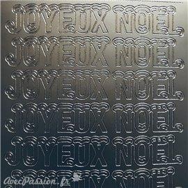 Sticker peel off adhésif joyeux Noël argent