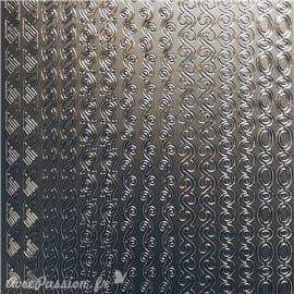Sticker peel off adhésif bordures ovale rond argent