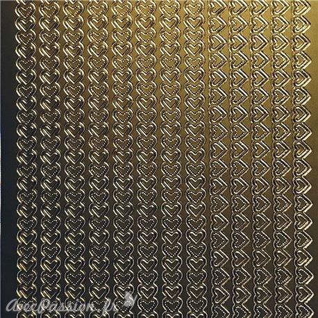 Sticker peel off adhésif bordures coeur doré