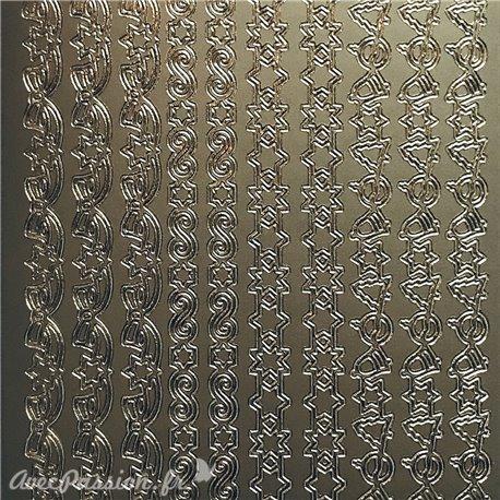 Sticker peel off adhésif bordures de Noël noeud argent