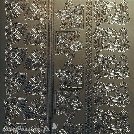 Sticker peel off adhésif cloches & angle argent