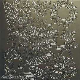 Sticker peel off adhésif flowers fairies argent