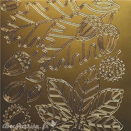 Sticker peel off adhésif feuille et gland doré