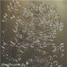Sticker peel off adhésif bouquet fleurs argent