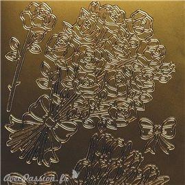 Sticker peel off adhésif bouquet fleurs doré