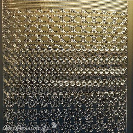 Sticker peel off adhésif bordures horizontales doré
