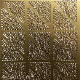 Sticker peel off adhésif coins fleurs doré