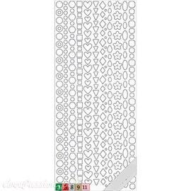 Sticker peel off adhésif géométrie argent holographique