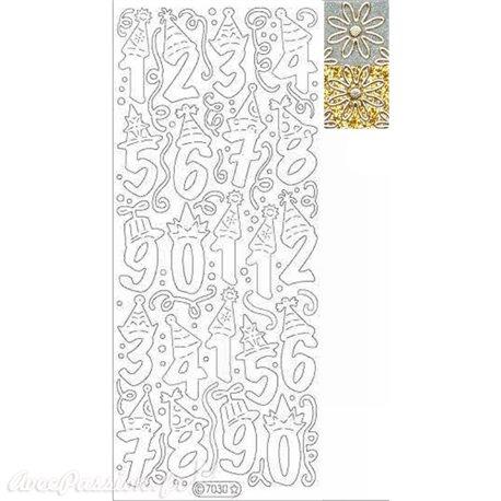 Sticker peel off adhésif chiffres fête argent fond doré glitter