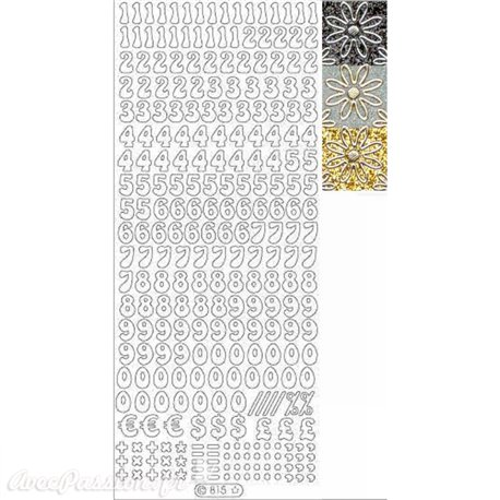 Sticker peel off adhésif chiffres argent fond doré glitter