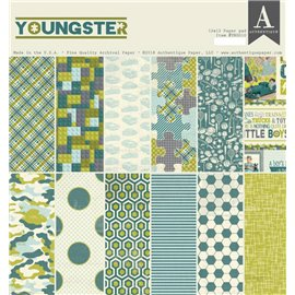Papier scrapbooking assortiment Authentique Youngster recto verso 30x30 36fe