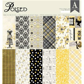 Papier scrapbooking assortiment Authentique Poised recto verso 30x30 36fe